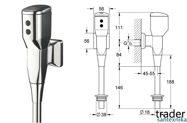 Grohe Tectron и Roca Vortex европейские сенсорные смывные краны для писсуаров, немецкий и испанский автоматический смыной кран для писсуара