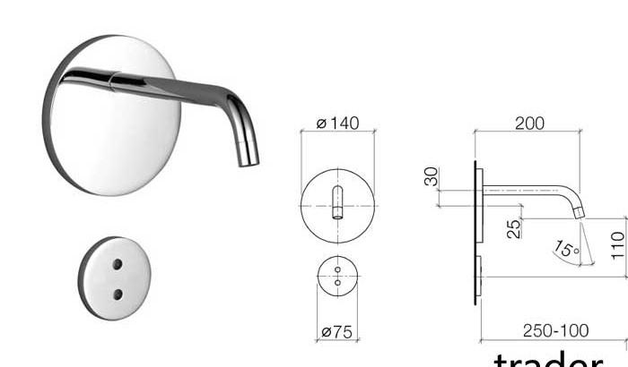 Dornbracht eMote, инфракрасный, настенный, встроенный смеситель для умывальника