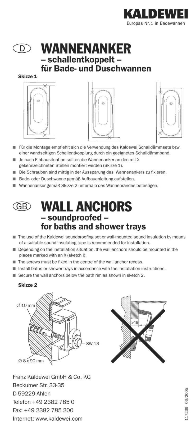В дополнение. выдержка из инструкция по установки анкеров Kaldewei, от производителя: