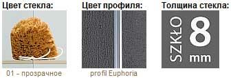 Душевая дверь Euphoria DWJ на длину 1100-1200 мм