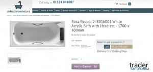 Акриловая ванна Roca BeCool в Великобритании
