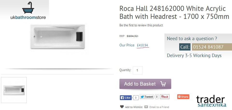 Акриловая ванна Roca Hall  в Великобритании