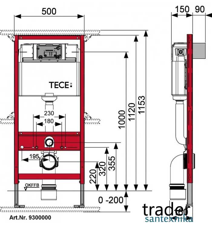 Инсталляционные система для подвесных унитазов, биде и писсуаров TECE