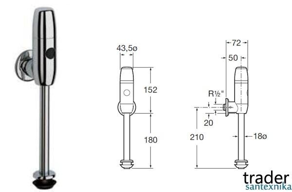 Roca Vortex европейские сенсорные смывные краны для писсуаров, немецкий и испанский автоматический смыной кран для писсуара