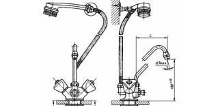 Смеситель для мойки двухрукояточный центральный набортный со щеткой с набортным креплением, излив с аэратором